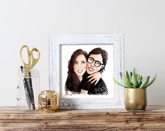 custom digital watercolor cartoon portrait - couple or friends
