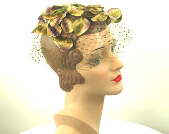 1950s veil hat birdcage hat velvet leaves Therese Ahrens hat purple green