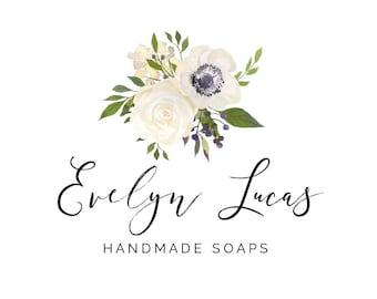 Anemone Logo, Wedding Logo, White Flowers Logo, Watercolor Logo, Signature Logo, Feminine Logo, Farmhouse Style, Business Logos, No. 24