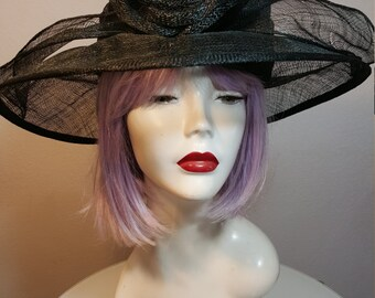 FREE  SHIPPPING  Vintage Wide Brim Sheer Straw Hat