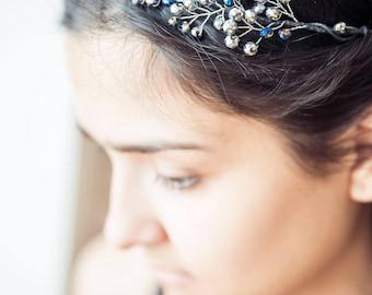 Silver headpiece Blue elven crown Silver crown headpiece Bridal boho crown Silver circlet Silver tiara Mothers day present Boho crown