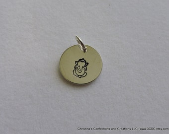 Hand Stamped Ganesha Charm or Necklace in Sterling, Copper or Brass (#1601)