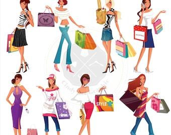 Shopping Girls Clipart,fashion women clipart,fashion girls clipart,shopping girls,digital download