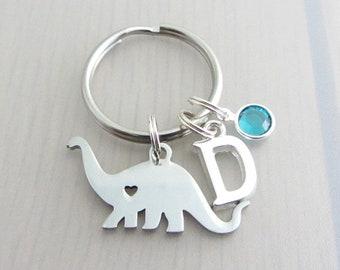 Dinosaur Charm Keychain, Letter Keychain, Personalised Birthstone Crystal Keyring, Custom Silver Initial Keyring, Dinosaur Gift, Name Gift