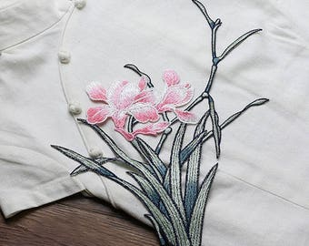 Pink and Green Flowers Appliques