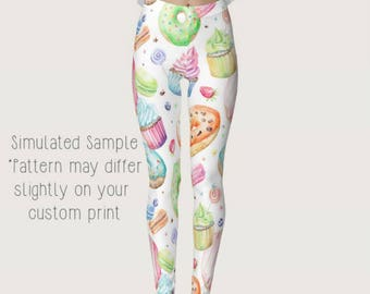 Donuts, Cupcakes Macaroons & Lollipops on White Leggings, Yoga, Party, Birthday, Doughnut, Sweets, Icing, Bakery, Baker, Pants XS-XL-Donuts8