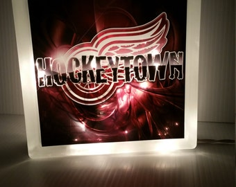 Detroit Red Wings Glass Block with Lights