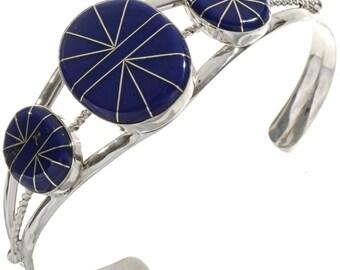 Inlaid Three Stone Lapis Bracelet Southwest Ladies Silver Cuff