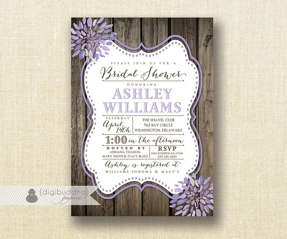 Cheap Shabby Chic Wedding Invitations: Lilac Bloom Bridal Shower Invitation Wood Shabby Chic Purple