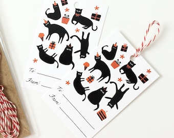 Cat Party Gift Tags Set - Pack of 10 with Twine - Cat Lover Gift Tags, Cute Gift, Birthday Gift Tags, Black Cats, Stocking Stuffer
