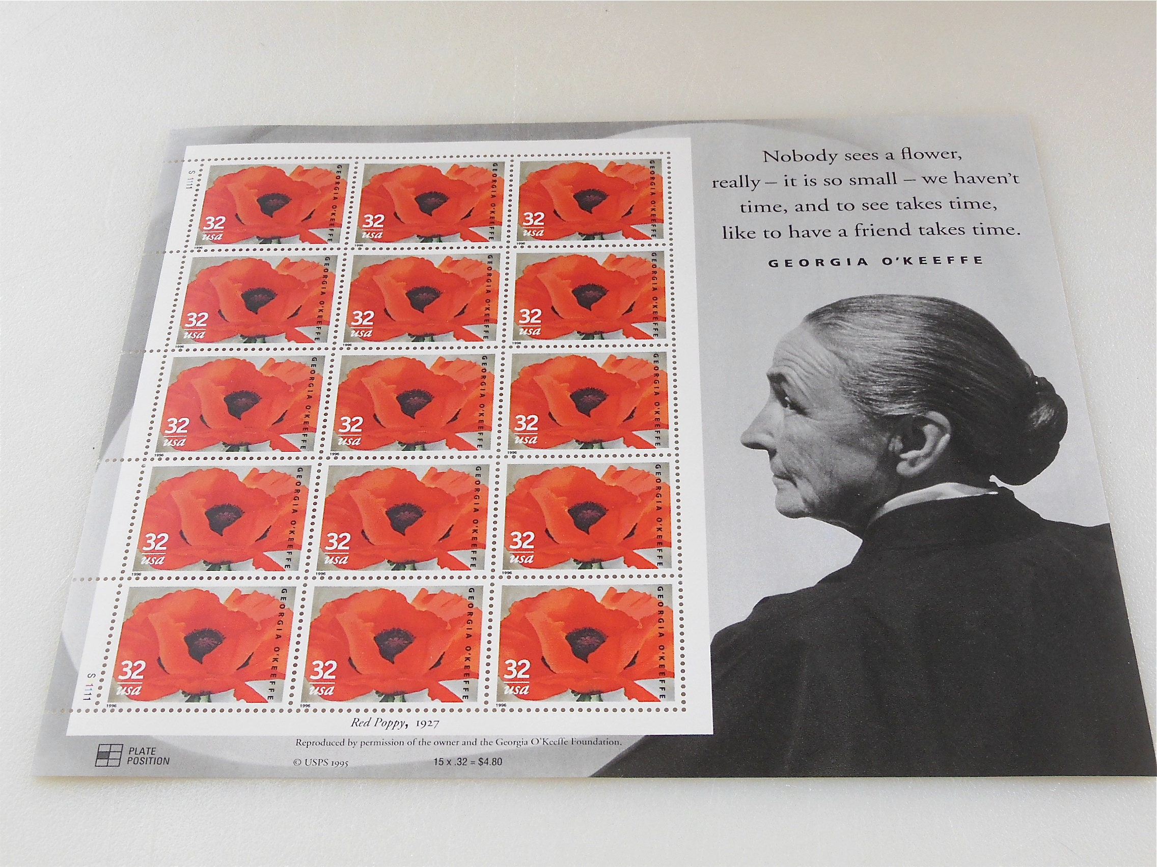 1996 Full Sheet Postage Stamp 1996 Georgia O\'Keeffe Red Poppy 1927 ...