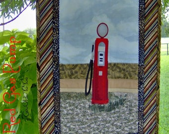 GAS PUMP,QUILT, Red, Wall Hanging, Western Decor, Country, Farm, Man Cave, Gift for Men, Fathers Day, Birthday, Rustic, Landscape