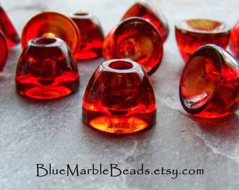 Lucite Bead-Big Hole Bead-Plastic Bead Cap-Bead Caps-Tortoise Shell-Amber Beads-Smooth Bead Cap-12 Beads