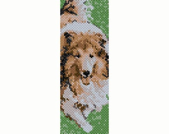 Collie Dog Peyote Bead Pattern, Bracelet Cuff, Seed Beading Pattern Miyuki Delica Size 11 Beads - PDF Instant Download