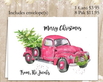 PINK Old Fashion Ford Truck Merry Christmas Cards / Buy 1 for 3.95 / or / Paks of 8 for 11.95 / Watercolor / Blank Inside / Personalize (nc)