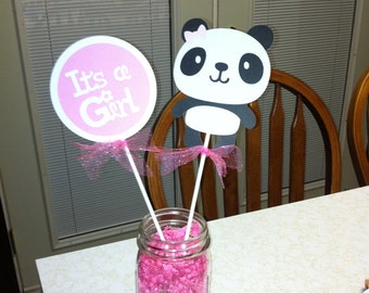 Panda Its a girl centerpiece, Panda baby shower, panda centerpiece, Its a girl centerpiece, its a girl decorations, seahorse