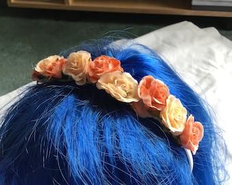 Small peach flower crown
