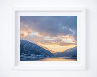 Utah mountain lake print - Sunset nature photograph - Winter photo - Landscape wall art decor - Fine art photography - Deer Creek - 11x14