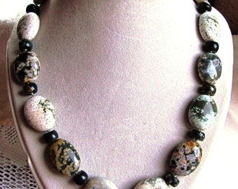 22 Inch Necklace of Ocean Jasper Ovals and Rondelles Hand Knotted on Silk