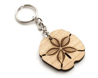 Sand Dollar Keychain. Sea Creatures . Timber Green Woods Sustainable Forestry Wood Products. Made in the USA!