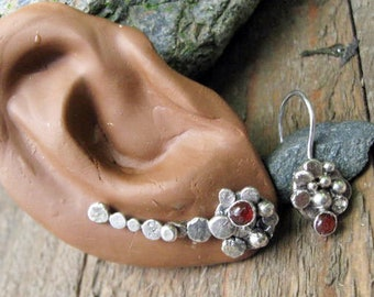 Ear climber sterling silver and Carnelian gemstone with matching dangle earring ear pin
