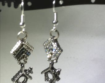 Handcrafted Silver Birdhouse earrings, handmade topping, hypoallergenic earwires
