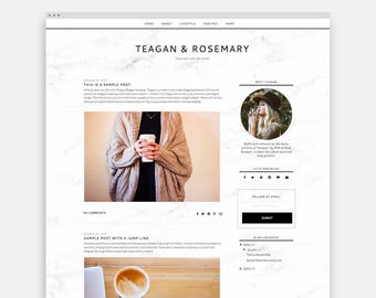 "Responsive Blogger Template ""Teagan"" - Feminine Blogger Template"