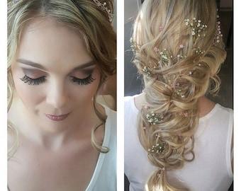 flower hair pins, sets of 2, 3, bridal, bridesmaids hair, Swarovski crystal, ideal for a prom or boho wedding hair accessory