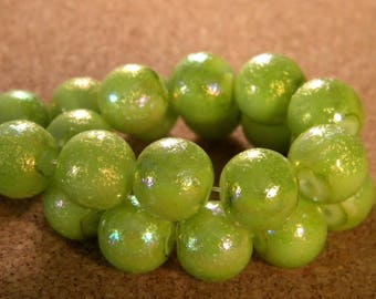 10 glitter AB - 12 mm - Green - lime PE122 glass beads