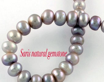 Natural Pearl Rondelle Button Pearls, Real Pearl, mauve, pink, Size about 9~10mm in diameter, 5~7mm thick, hole: 0.8mm
