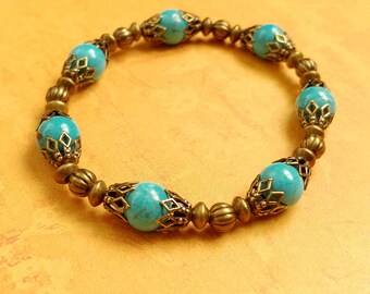 Turquoise Magnesite Gemstone Bracelet With Antiqued Gold-Plated Brass Accents