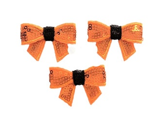 "Orange & Black Halloween Mini Sequin Bows ~ 1.75"""