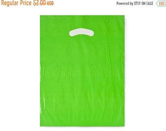 TAX SEASON Stock up 50 Pack Lime green Opaque Cut Out Handle 9 X 12 Inch Size Retail Merchandise Plastic Bags