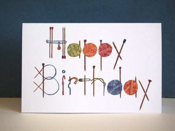 Knitting Happy Birthday Greeting Card. White linen card stock.