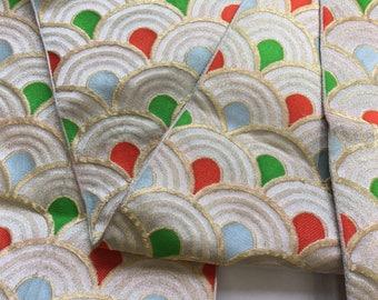Nagoya obi white gold, vintage Japanese obi with waves pattern, silk obi belt, vintage obi, green light blue red white gold_0002