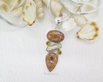 Brown Ocean Jasper Fresh Water Pearl Citrine Sterling Silver Pendant and Chain