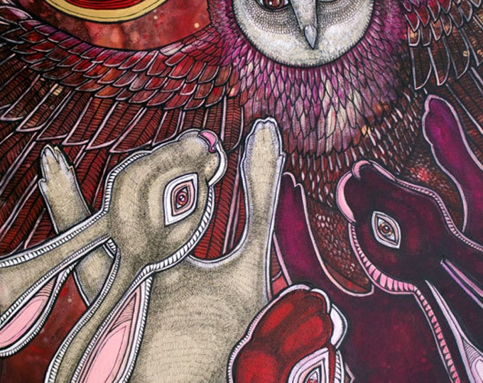 Owl and Rabbit Art Print by Lynnette Shelley