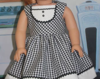 """American Girl Style """"Doo Wop Days"""" in Black and White Check"""