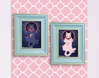 Eclipse Celestial Space Cat / Black Cat / White Cat 5x7 Prints