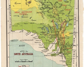physical map of south australia 1950 atlas antique map australian map map of