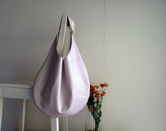 Nude/ Pale Pink Genuine Italian Leather Hobo bag, Over Size, Slouchy, Shoulder bag