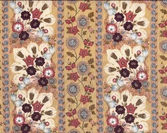 Tissu coton patchwork floral a bandes, beige, orangé-rouille, et violet aubergine