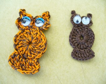 Crocheted Owl Appliques, Embellishments, Pins, Magnets or Earrings