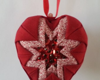 Heart Quilted Ornament