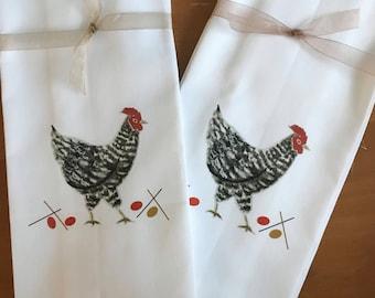 Speckled Hen, Farm Animal, Barnyard chick, Kitchen Towel, Cotton, Kitchen Gift, Kitchen Decor, Stable Yard, Housewarming, Breakfast Basket