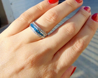 Blue and White Diamond Wedding Band in 14K White Gold