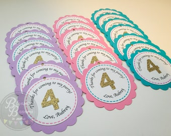 12 Colorful Thank You Birthday Party Tags, Dual Layer Card Stock with Glitter Gold Number, Personalized Thank You Event Tags