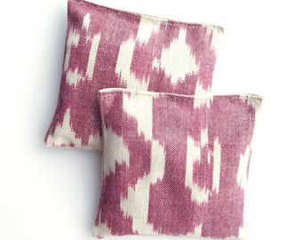 Organic Lavender Sachets Red and White Ikat Cotton & Linen Organic Lavender Set of 2 Natural Home Limited Edition Mother's Day Gift