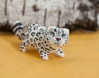 Snow leopard totem. Polymer clay animal OOAK figurine, talisman, amulet. Native, folk, medicine.