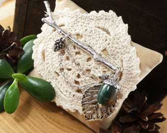 """Brooch Branch with Acorn, green agate """"silver"""" (#7183)"""